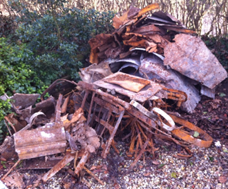 Heap of Debris Removed During Well Restoration
